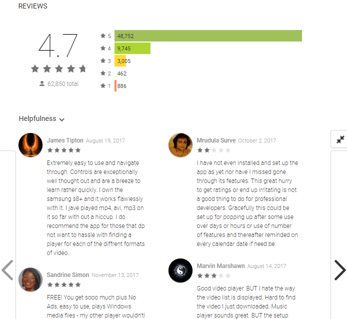 app reviews on google play
